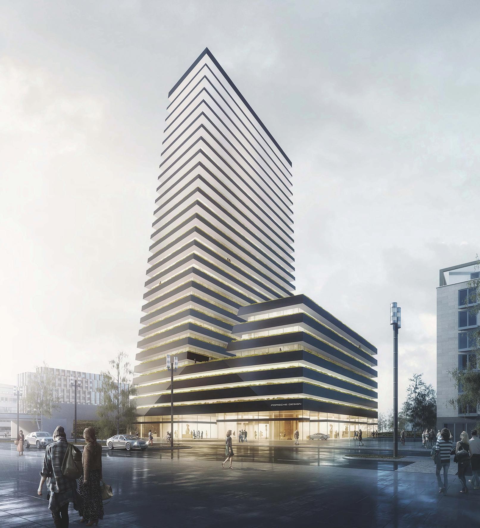 Wohnhochhaus porsche design tower frankfurt geplant for Frankfurt architektur